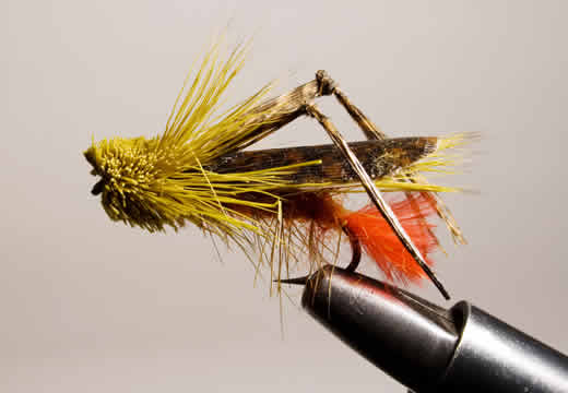 A hopper pattern that will cause comotion and disturbance on a stream from Terrestrials for Late Summer and Early Fall Fishing at www.flyfisher.com